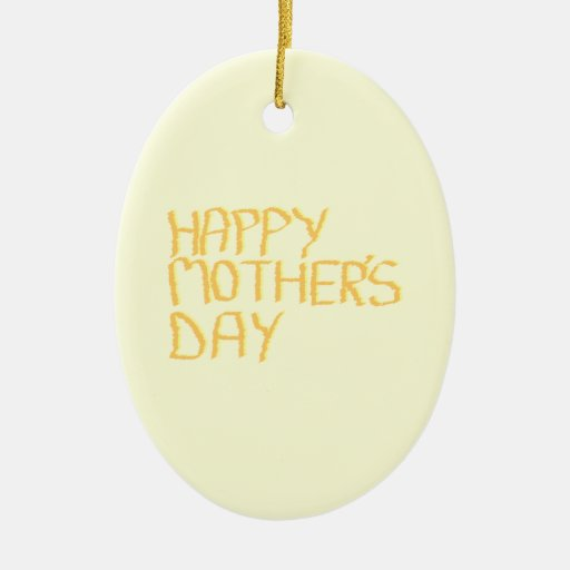 Happy Mothers Day. Yellow. Double-Sided Oval Ceramic Christmas Ornament