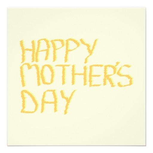 Happy Mothers Day. Yellow. Invites