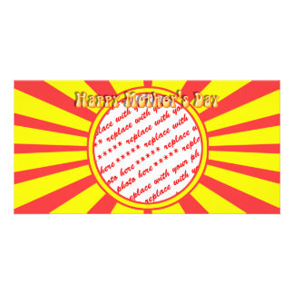 Happy Mother's Day - Yellow Retro Photo Frame Custom Photo Card
