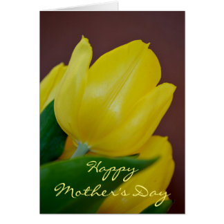Happy Mothers Day Yellow Tulip Flower Card