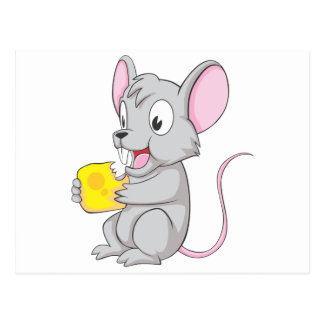 Happy Mouse Eating Cheese Postcard