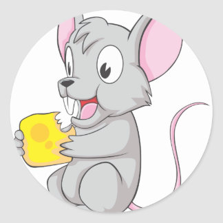 Happy Mouse Eating Cheese Round Stickers
