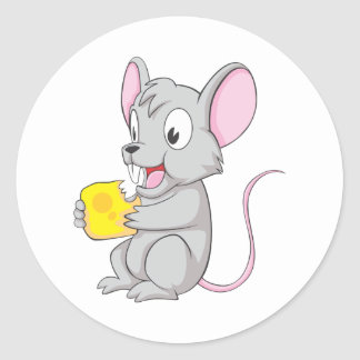 Happy Mouse Eating Cheese Stickers