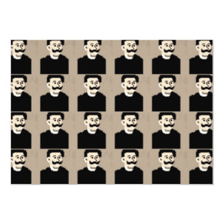 Happy moustache funny cute face card