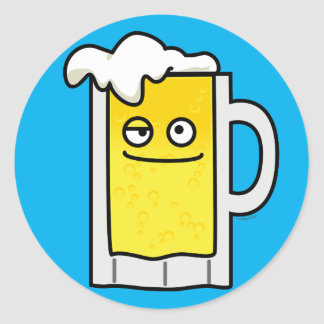 Happy Mug of Beer with Foam top Classic Round Sticker