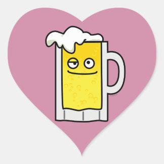 Happy Mug of Beer with Foam top Heart Sticker
