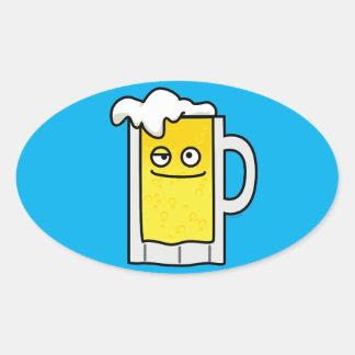 Happy Mug of Beer with Foam top Oval Sticker