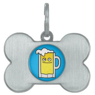 Happy Mug of Beer with Foam top Pet Name Tag