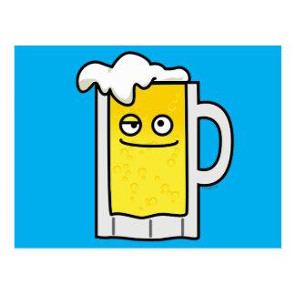 Happy Mug of Beer with Foam top Postcard