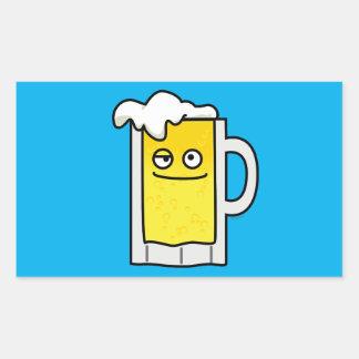 Happy Mug of Beer with Foam top Rectangular Sticker