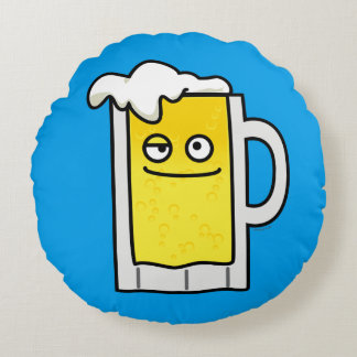 Happy Mug of Beer with Foam top Round Pillow