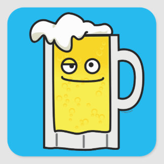 Happy Mug of Beer with Foam top Square Sticker