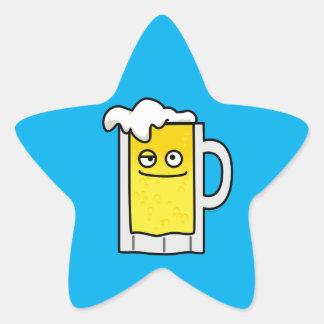 Happy Mug of Beer with Foam top Star Sticker