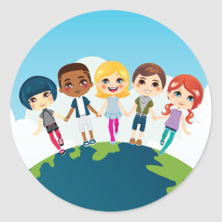 Happy Multi-ethnic Children Classic Round Sticker
