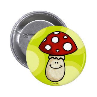 happy mushroom 2 inch round button
