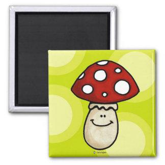 happy mushroom 2 inch square magnet