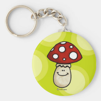 happy mushroom basic round button keychain