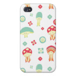 Happy Mushroom pattern Covers For iPhone 4