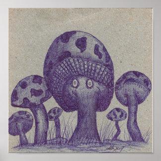 Happy Mushroom Prints Print