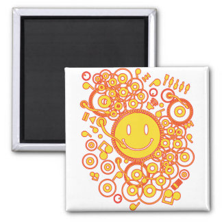 Happy_Music 2 Inch Square Magnet