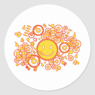 Happy_Music Classic Round Sticker
