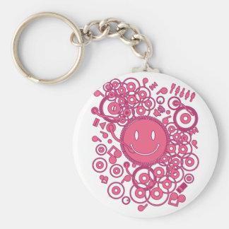 Happy_Music Basic Round Button Keychain