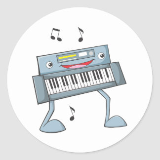 Happy Musical Keyboard Performer Classic Round Sticker