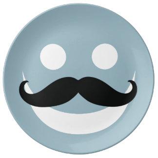 Happy Mustache Face Porcelain Plates