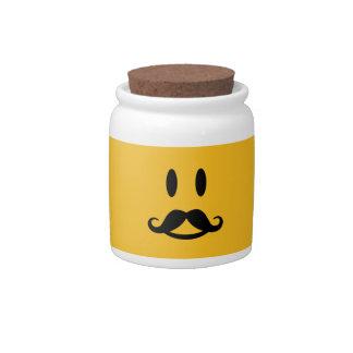 Happy Mustache Smiley custom candy jar