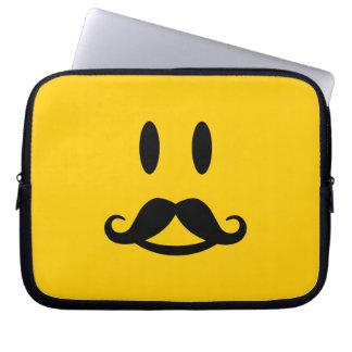 Happy Mustache Smiley custom laptop sleeve