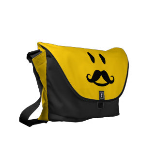 Happy Mustache Smiley custom messenger bag