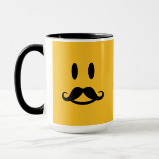 Happy Mustache Smiley custom mugs