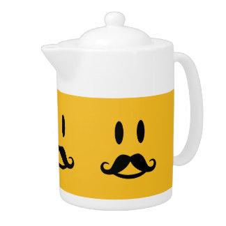 Happy Mustache Smiley custom teapot