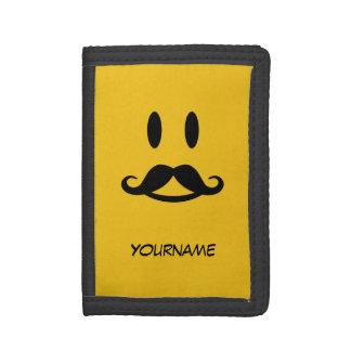Happy Mustache Smiley custom wallets