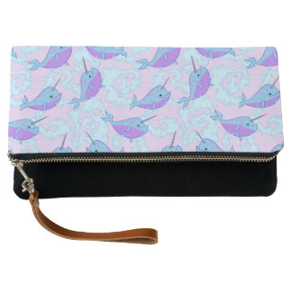 Happy Narwhal Pattern Clutch