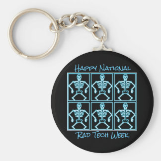 """""""Happy National Rad Tech Week"""" with Skeletons Keychain"""