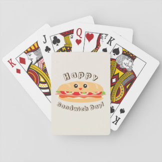 Happy National Sandwich Day Cute And Kawaii Playing Cards