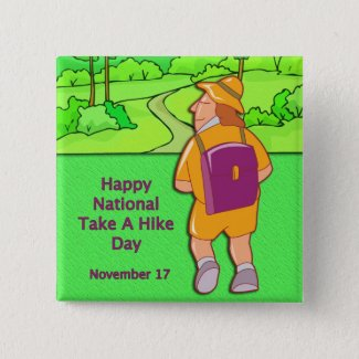 Happy National Take A Hike Day November 17 Button