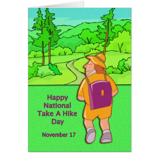 Happy National Take A Hike Day November 17 Card