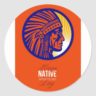 Happy Native American Day Remembrance Greeting Car Stickers