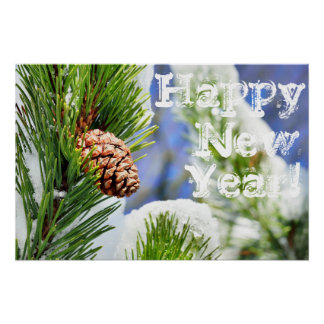 Happy Neaw Year with snow forest Poster