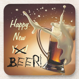 Happy New Beer Cheers Drink Coaster Alcohol