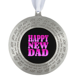 Happy New Dad in Pink Ornament