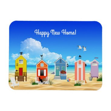 "Beach Themed Happy New Home Beach Scene 3""x4"" Photo Magnet"