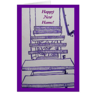 Happy New Home Floating Staircase Greeting Cards