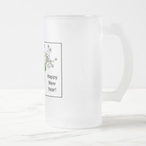 Happy New Year! 16 Oz Frosted Glass Beer Mug