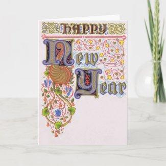 Happy New Year 1907 postcard card