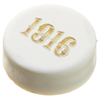 Happy New Year 1916 Vintage Anniversary Gold Chocolate Dipped Oreo