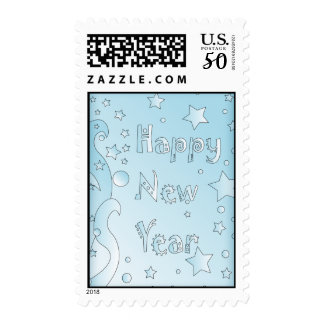 Happy New Year 2010 - Blue design with stars Postage