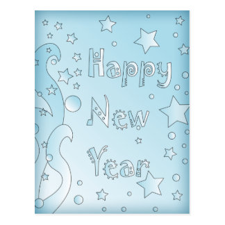 Happy New Year 2010 - Blue design with stars Postcard